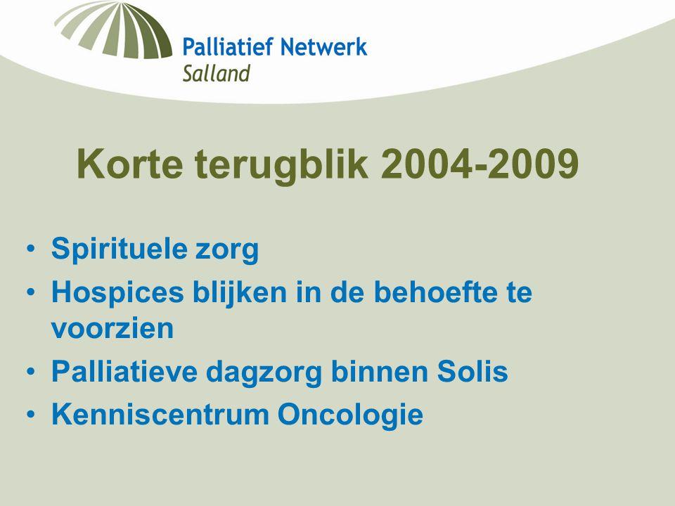 Korte terugblik 2004-2009 Spirituele zorg