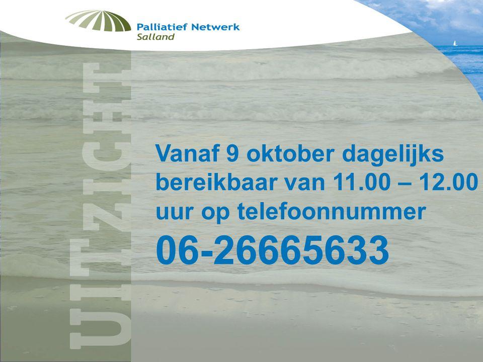 Folder uitzicht Vanaf 9 oktober dagelijks bereikbaar van 11.00 – 12.00 uur op telefoonnummer.