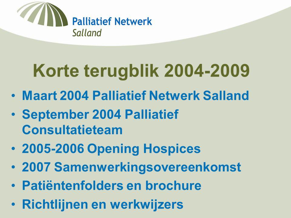 Korte terugblik 2004-2009 Maart 2004 Palliatief Netwerk Salland