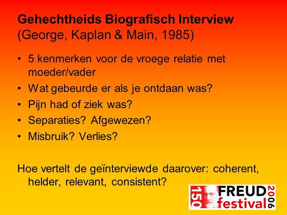 Gehechtheids Biografisch Interview (George, Kaplan & Main, 1985)