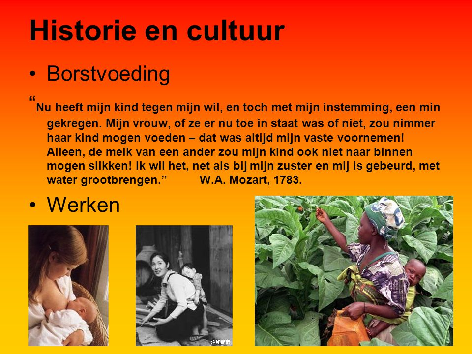 Historie en cultuur Borstvoeding