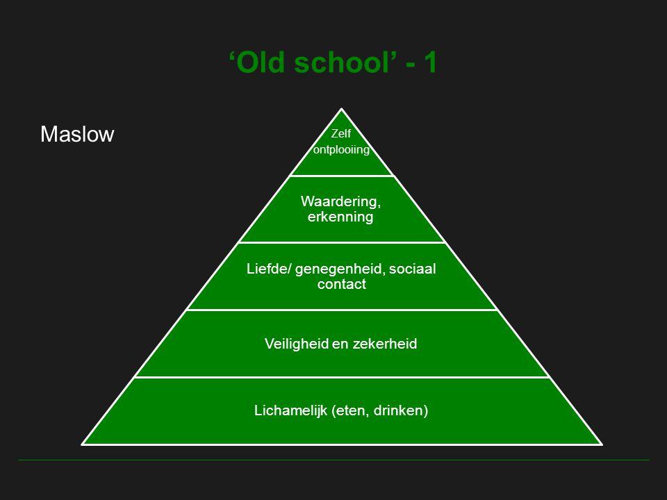 'Old school' - 1 Maslow Waardering, erkenning