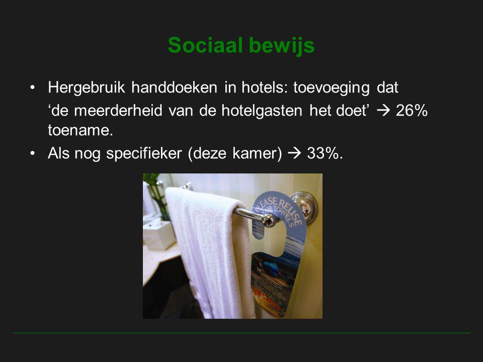 Sociaal bewijs Hergebruik handdoeken in hotels: toevoeging dat