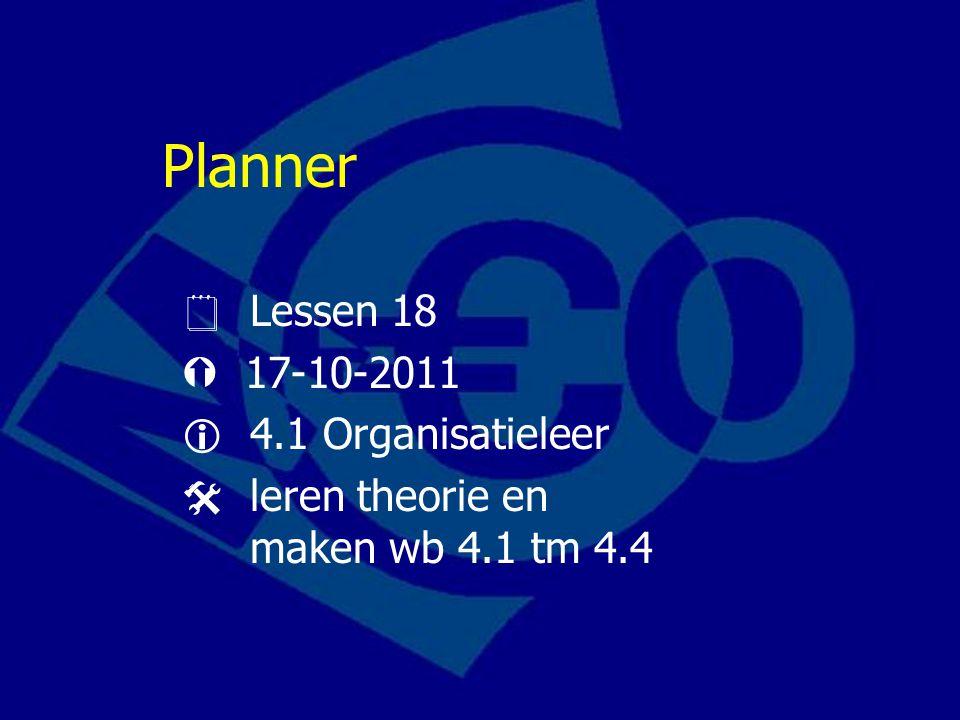 Planner  Lessen 18  17-10-2011  4.1 Organisatieleer