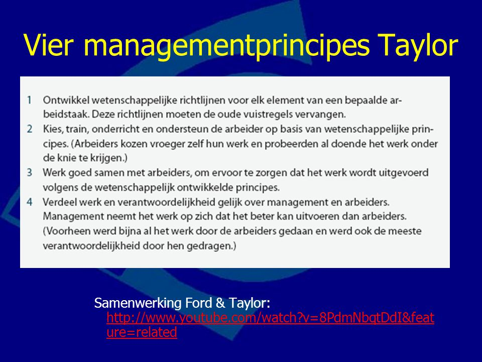 Vier managementprincipes Taylor