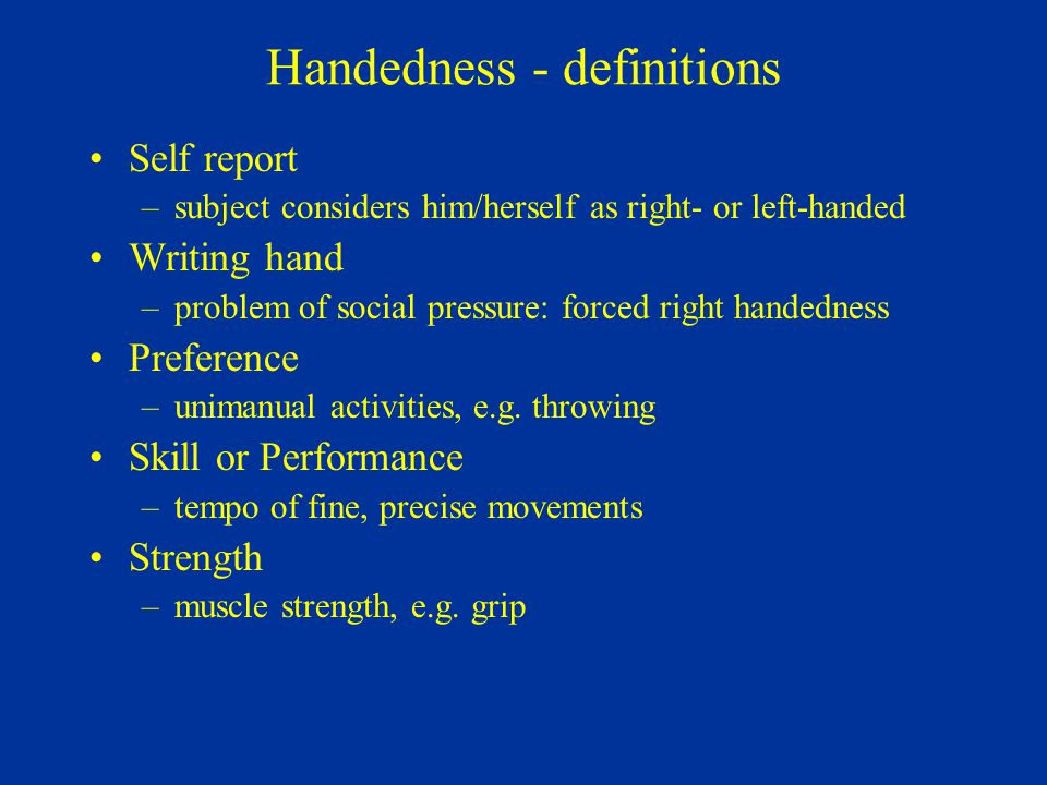 Handedness - definitions
