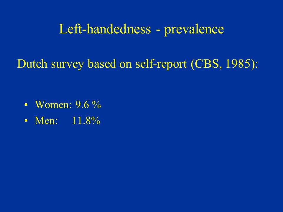 Left-handedness - prevalence