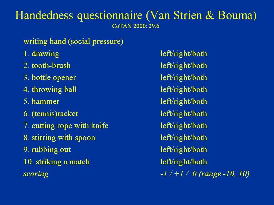 Handedness questionnaire (Van Strien & Bouma) CoTAN 2000: 29.6