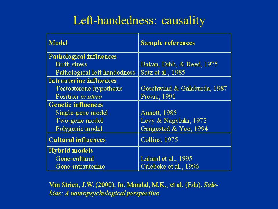 Left-handedness: causality