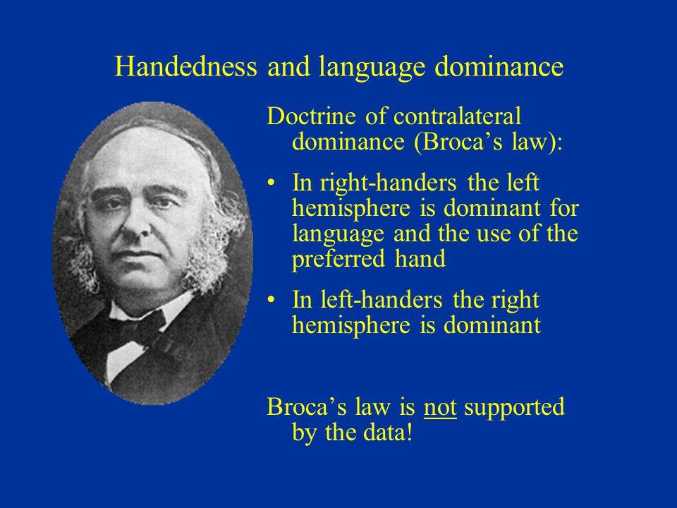 Handedness and language dominance
