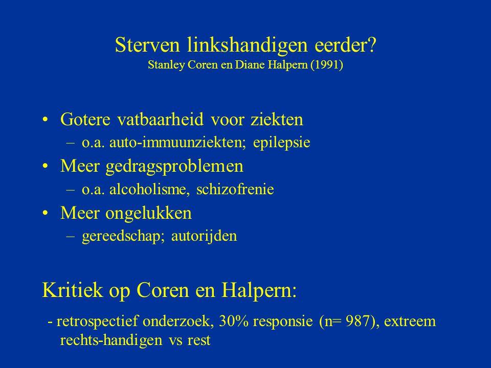 Sterven linkshandigen eerder Stanley Coren en Diane Halpern (1991)