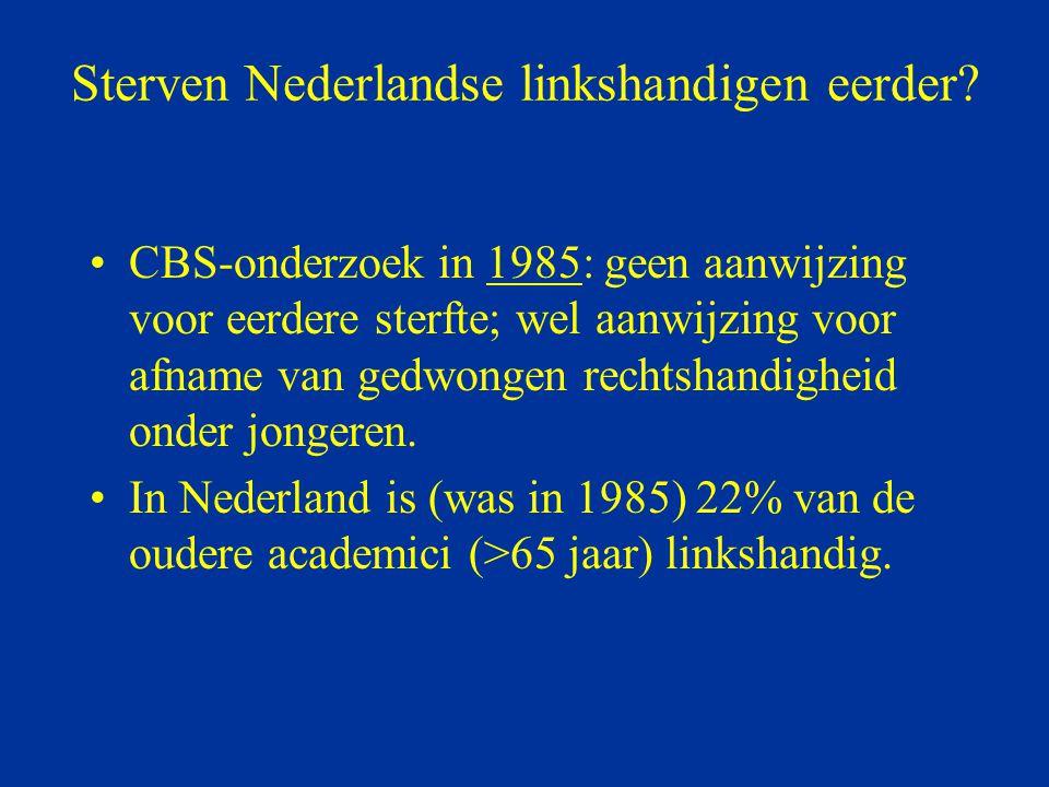 Sterven Nederlandse linkshandigen eerder