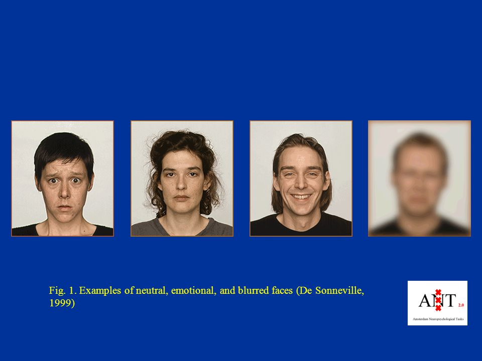 Fig. 1. Examples of neutral, emotional, and blurred faces (De Sonneville, 1999)