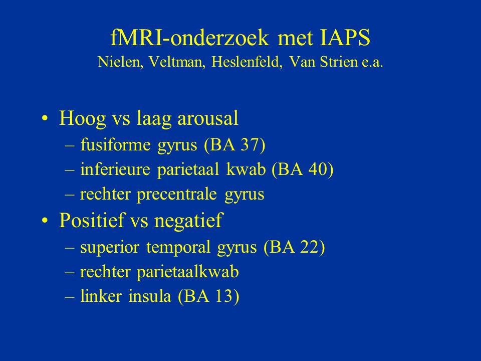 fMRI-onderzoek met IAPS Nielen, Veltman, Heslenfeld, Van Strien e.a.