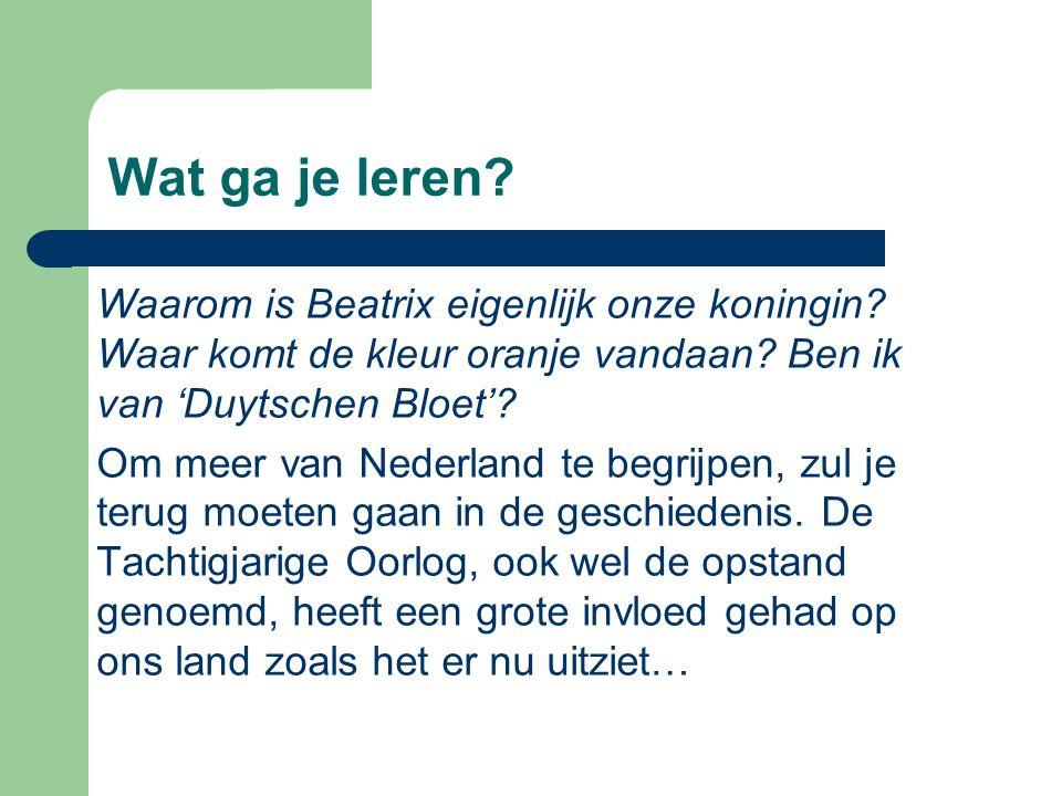 Wat ga je leren Waarom is Beatrix eigenlijk onze koningin Waar komt de kleur oranje vandaan Ben ik van 'Duytschen Bloet'