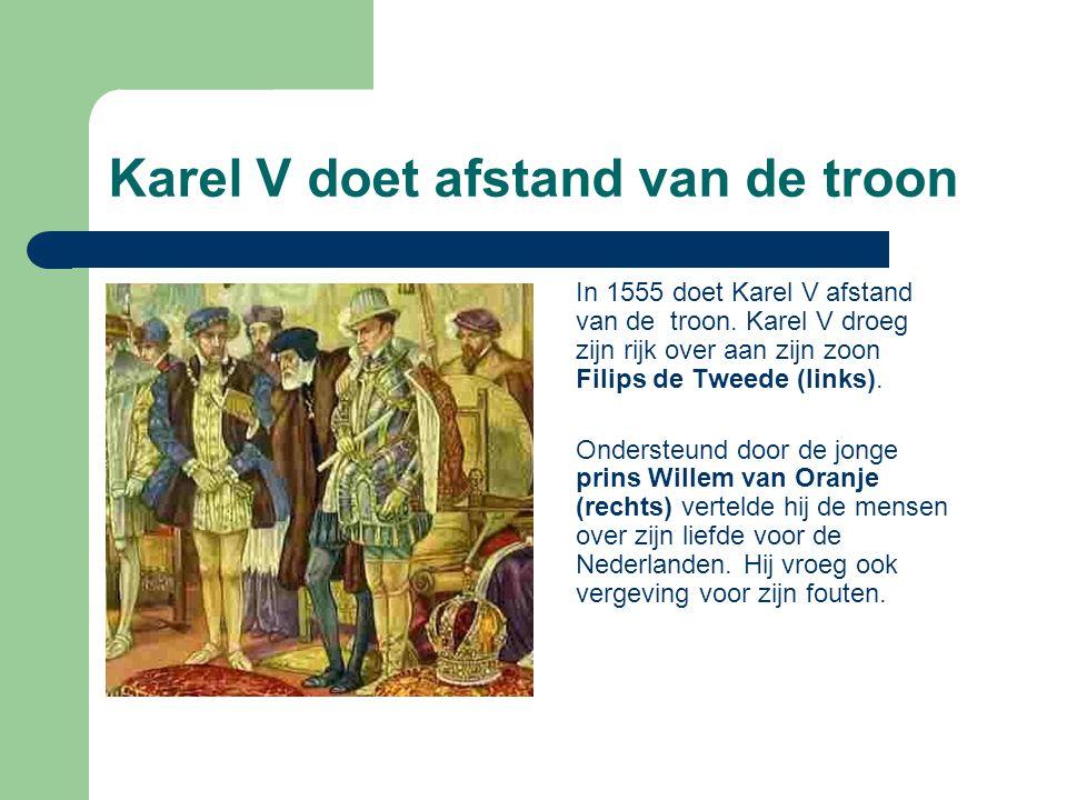Karel V doet afstand van de troon