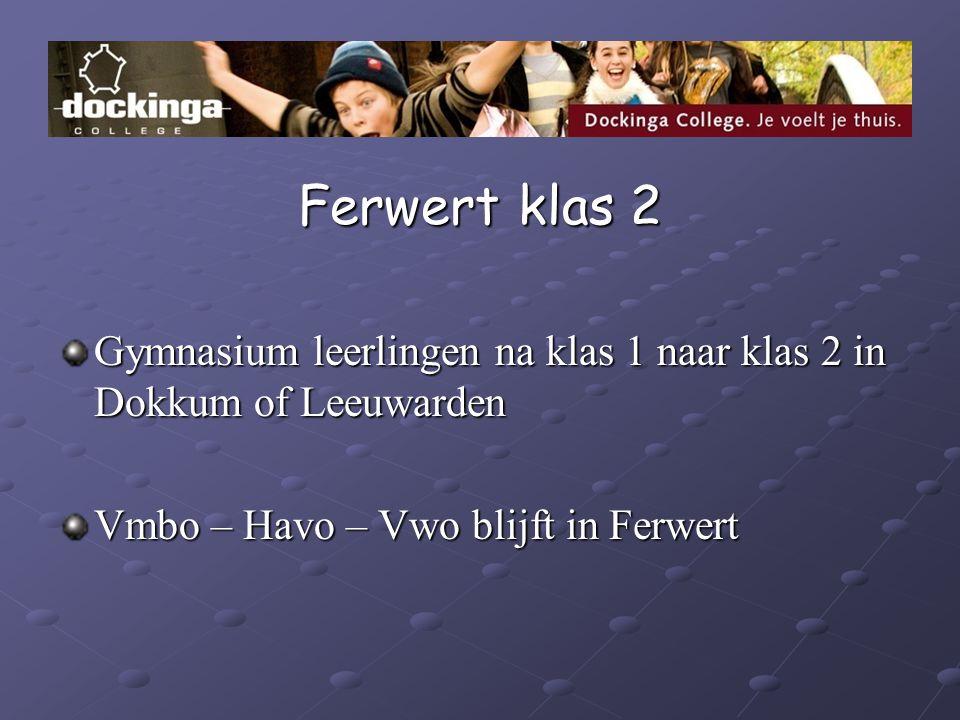 Ferwert klas 2 Gymnasium leerlingen na klas 1 naar klas 2 in Dokkum of Leeuwarden.
