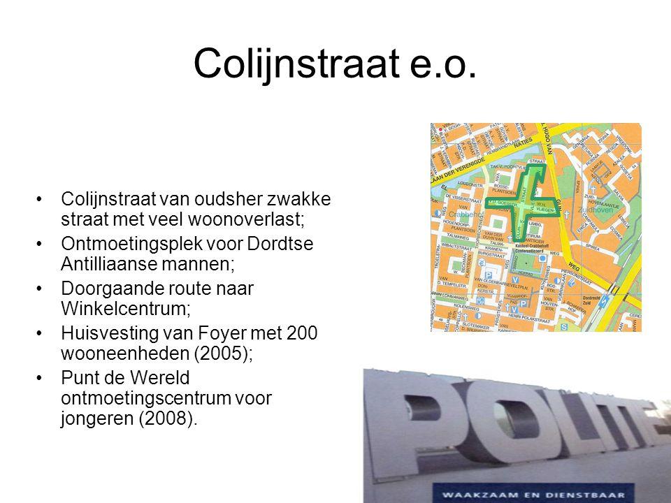 Colijnstraat e.o. Colijnstraat van oudsher zwakke straat met veel woonoverlast; Ontmoetingsplek voor Dordtse Antilliaanse mannen;