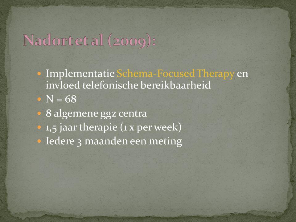 Nadort et al (2009): Implementatie Schema-Focused Therapy en invloed telefonische bereikbaarheid. N = 68.