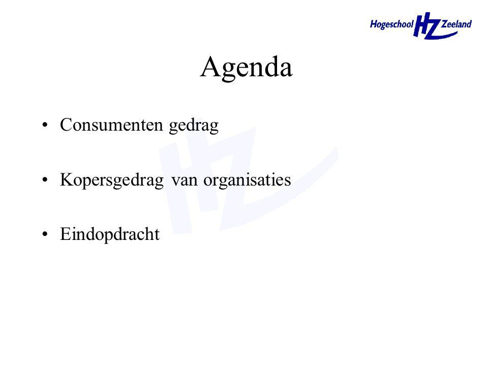 Agenda Consumenten gedrag Kopersgedrag van organisaties Eindopdracht