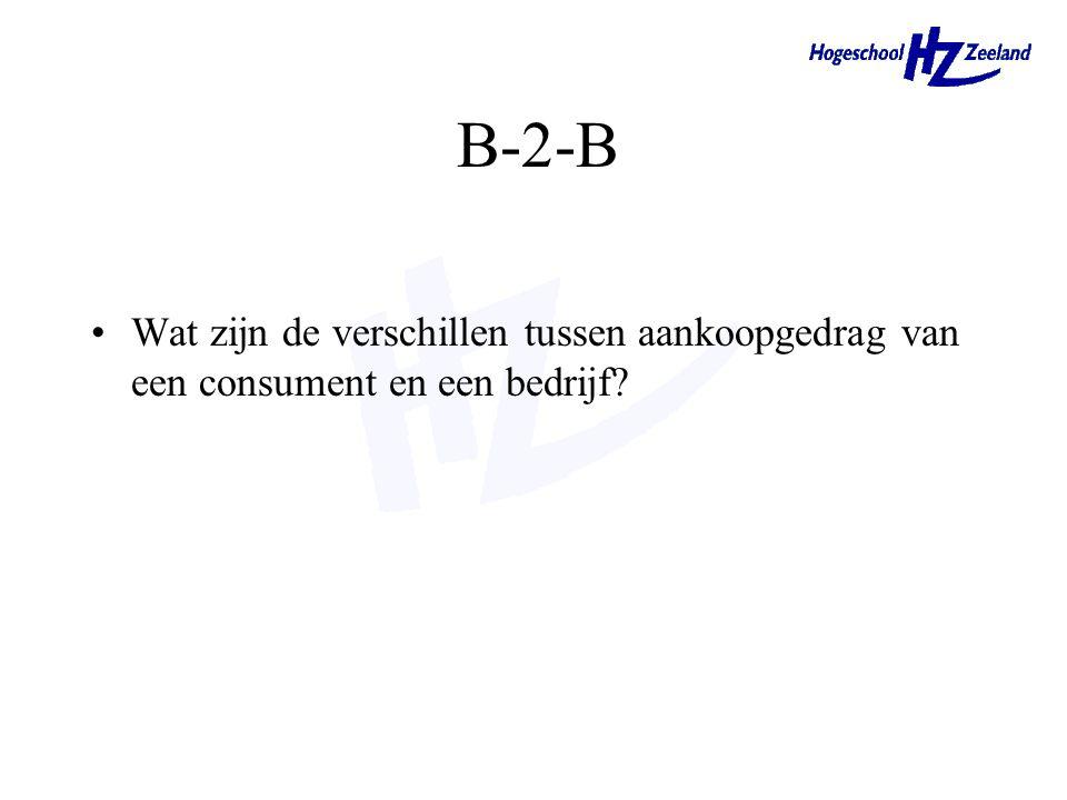 B-2-B Wat zijn de verschillen tussen aankoopgedrag van een consument en een bedrijf