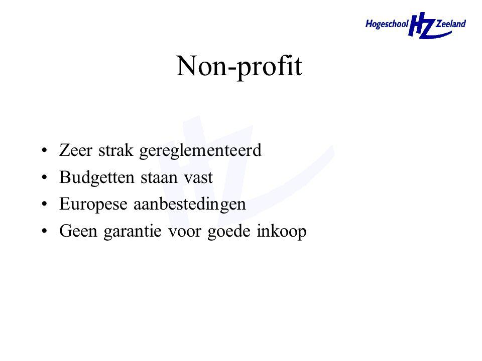 Non-profit Zeer strak gereglementeerd Budgetten staan vast