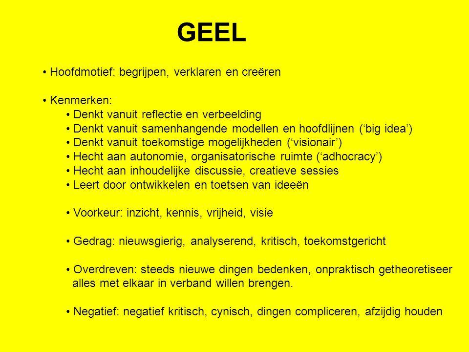 GEEL Hoofdmotief: begrijpen, verklaren en creëren Kenmerken: