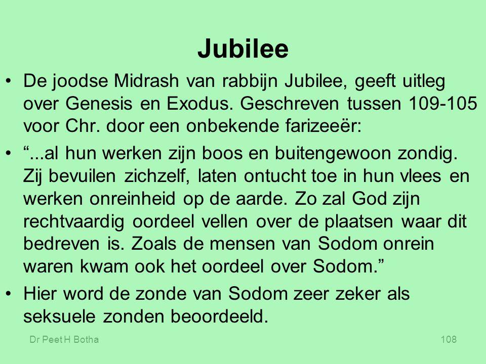 Jubilee De joodse Midrash van rabbijn Jubilee, geeft uitleg over Genesis en Exodus. Geschreven tussen 109-105 voor Chr. door een onbekende farizeeër: