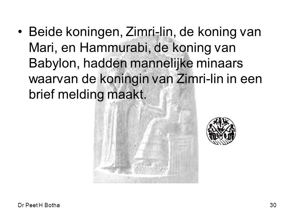 Beide koningen, Zimri-lin, de koning van Mari, en Hammurabi, de koning van Babylon, hadden mannelijke minaars waarvan de koningin van Zimri-lin in een brief melding maakt.