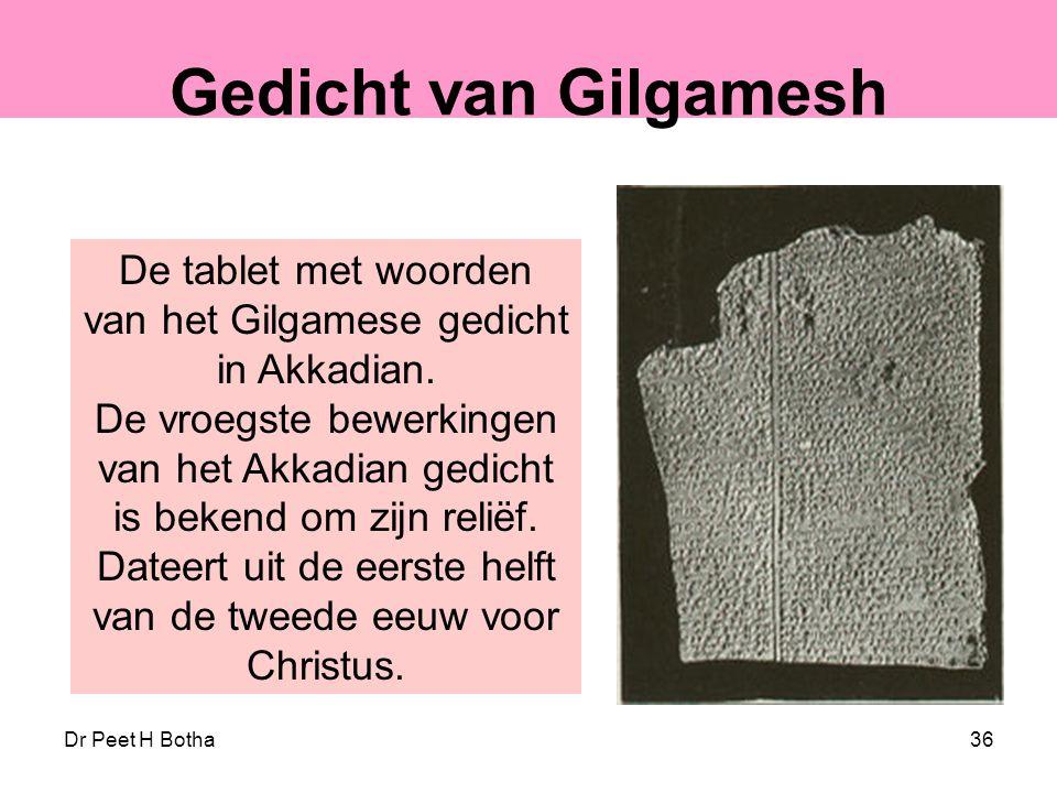 De tablet met woorden van het Gilgamese gedicht in Akkadian.