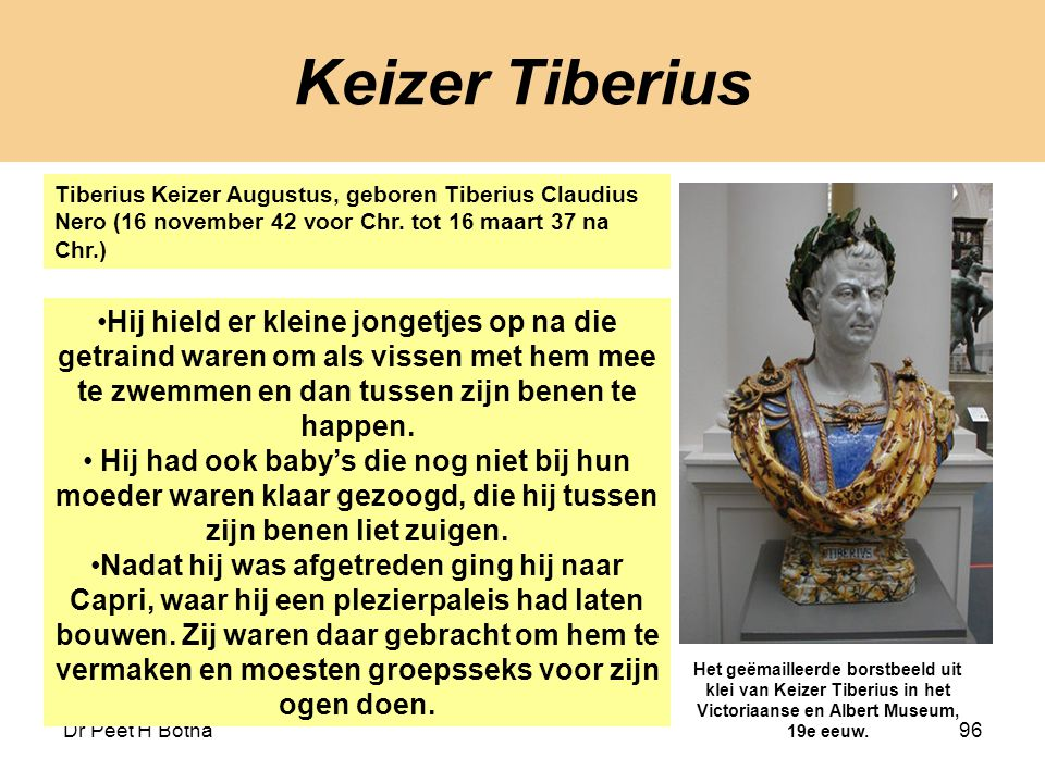 Keizer Tiberius Tiberius Keizer Augustus, geboren Tiberius Claudius Nero (16 november 42 voor Chr. tot 16 maart 37 na Chr.)