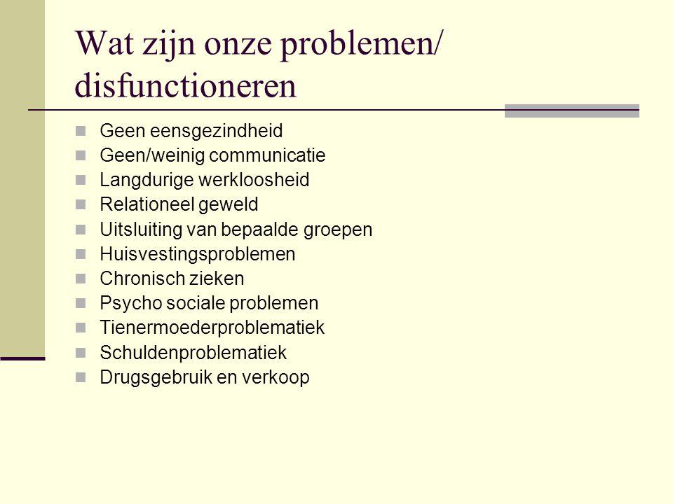 Wat zijn onze problemen/ disfunctioneren