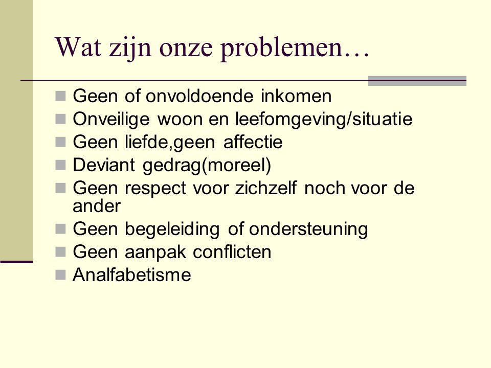 Wat zijn onze problemen…