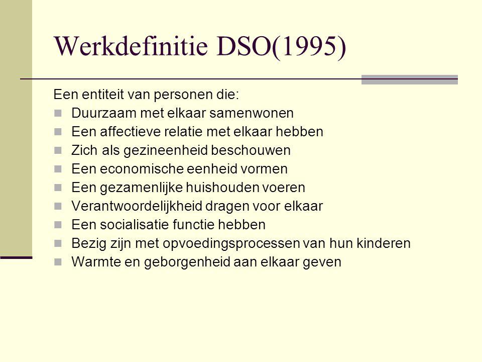 Werkdefinitie DSO(1995) Een entiteit van personen die: