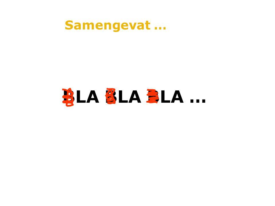 Samengevat … BLA BLA BLA …