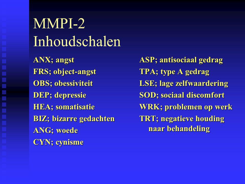 MMPI-2 Inhoudschalen ANX; angst FRS; object-angst OBS; obessiviteit
