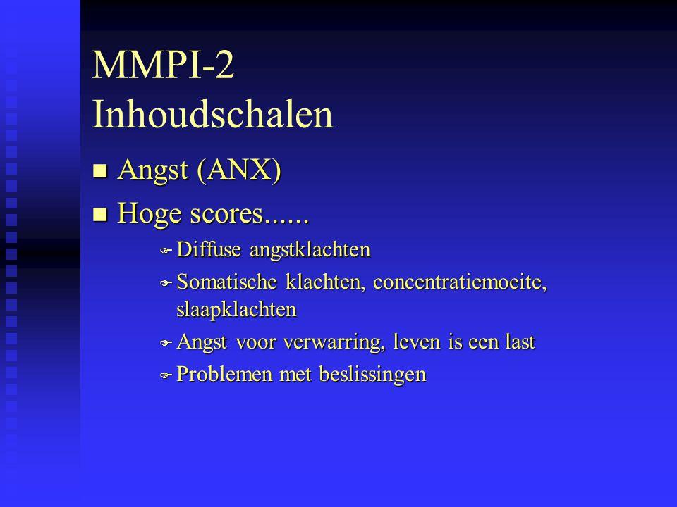MMPI-2 Inhoudschalen Angst (ANX) Hoge scores......