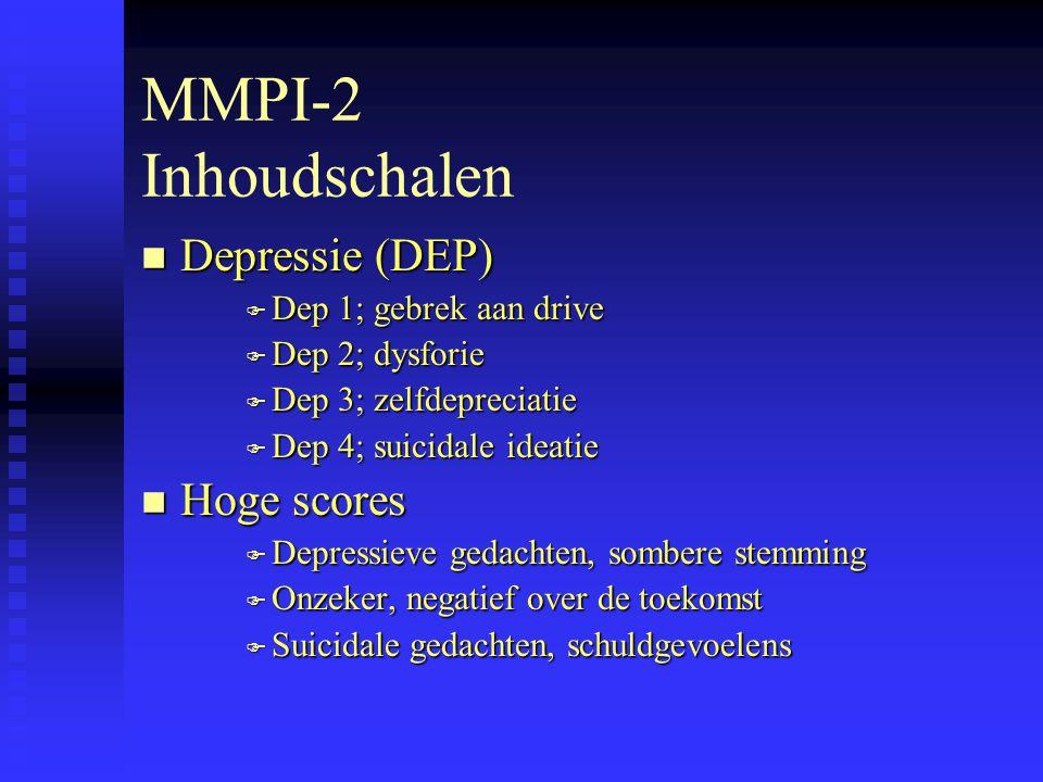 MMPI-2 Inhoudschalen Depressie (DEP) Hoge scores