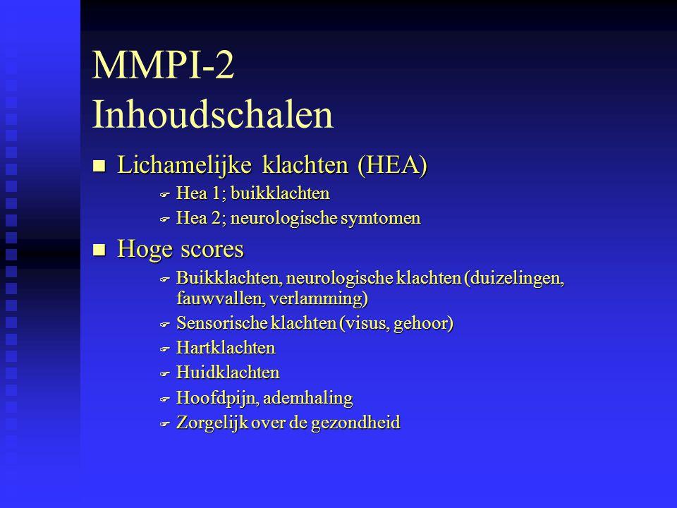 MMPI-2 Inhoudschalen Lichamelijke klachten (HEA) Hoge scores