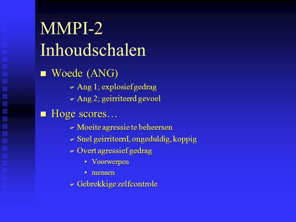 MMPI-2 Inhoudschalen Woede (ANG) Hoge scores… Ang 1; explosief gedrag