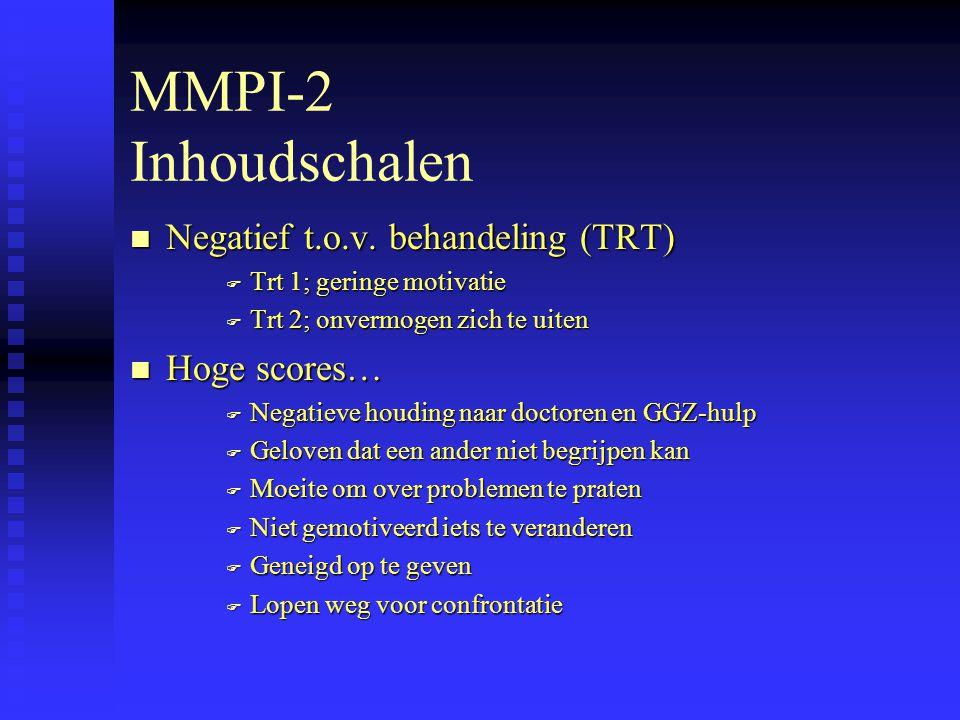 MMPI-2 Inhoudschalen Negatief t.o.v. behandeling (TRT) Hoge scores…
