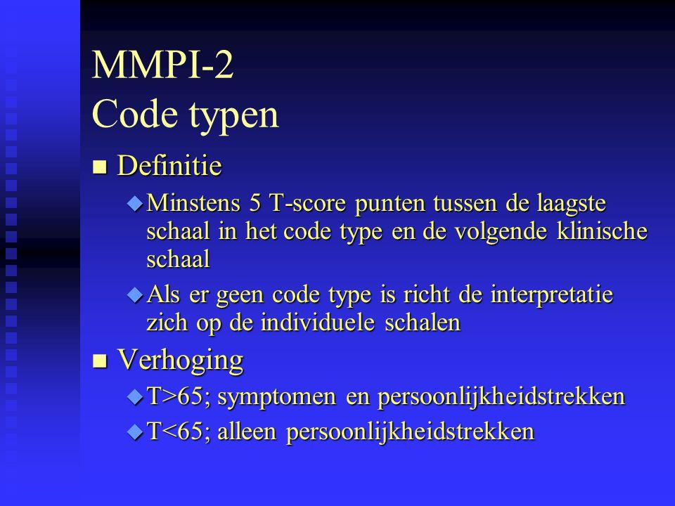 MMPI-2 Code typen Definitie Verhoging