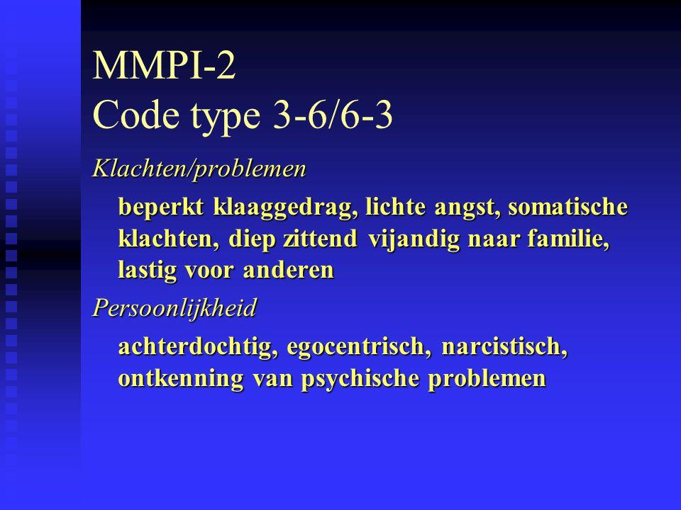 MMPI-2 Code type 3-6/6-3 Klachten/problemen