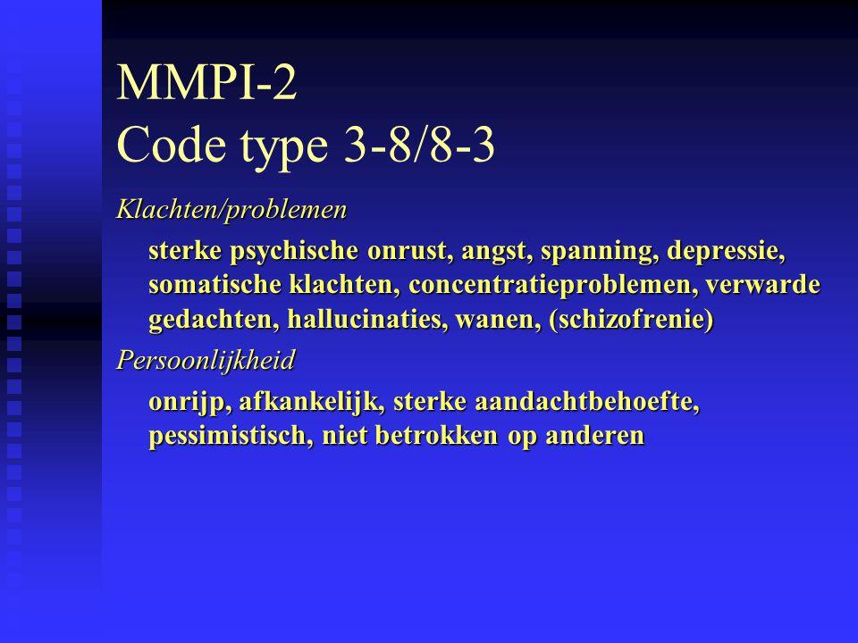 MMPI-2 Code type 3-8/8-3 Klachten/problemen