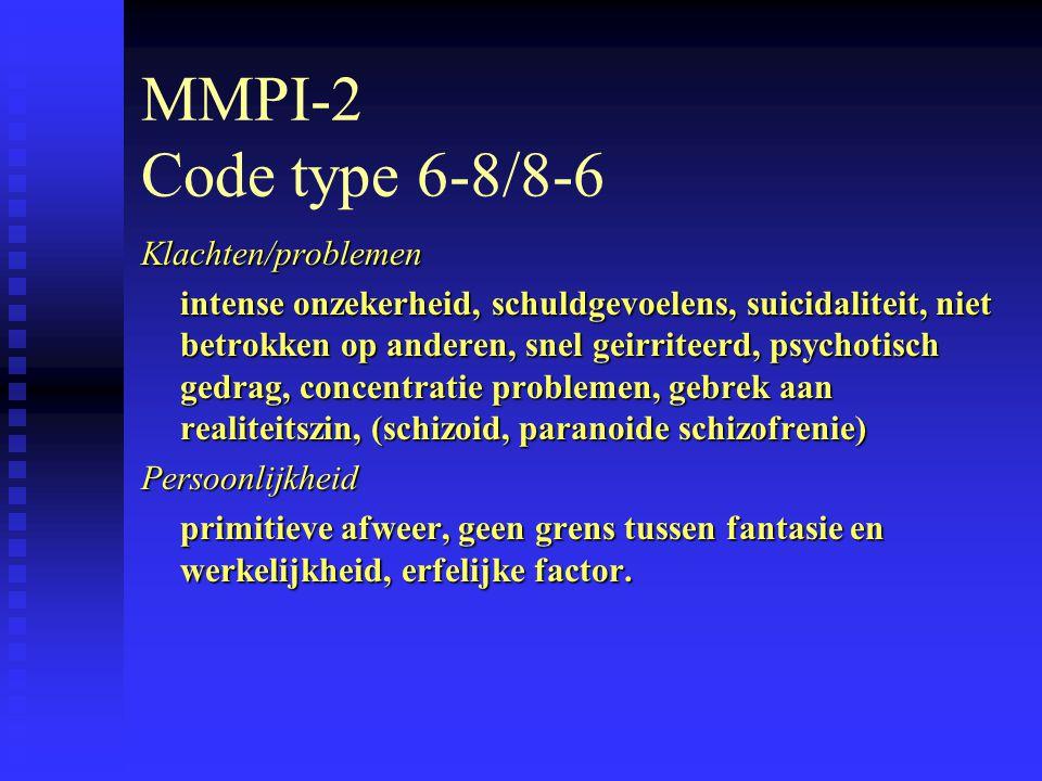MMPI-2 Code type 6-8/8-6 Klachten/problemen