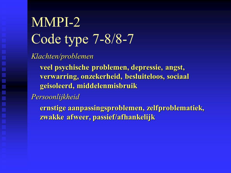 MMPI-2 Code type 7-8/8-7 Klachten/problemen
