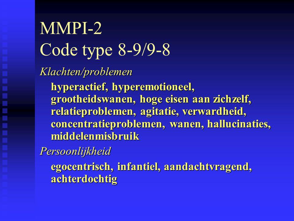 MMPI-2 Code type 8-9/9-8 Klachten/problemen