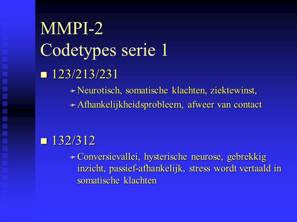 MMPI-2 Codetypes serie 1 123/213/231 132/312