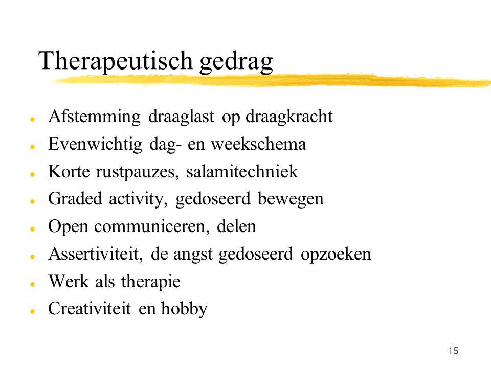 Therapeutisch gedrag Afstemming draaglast op draagkracht