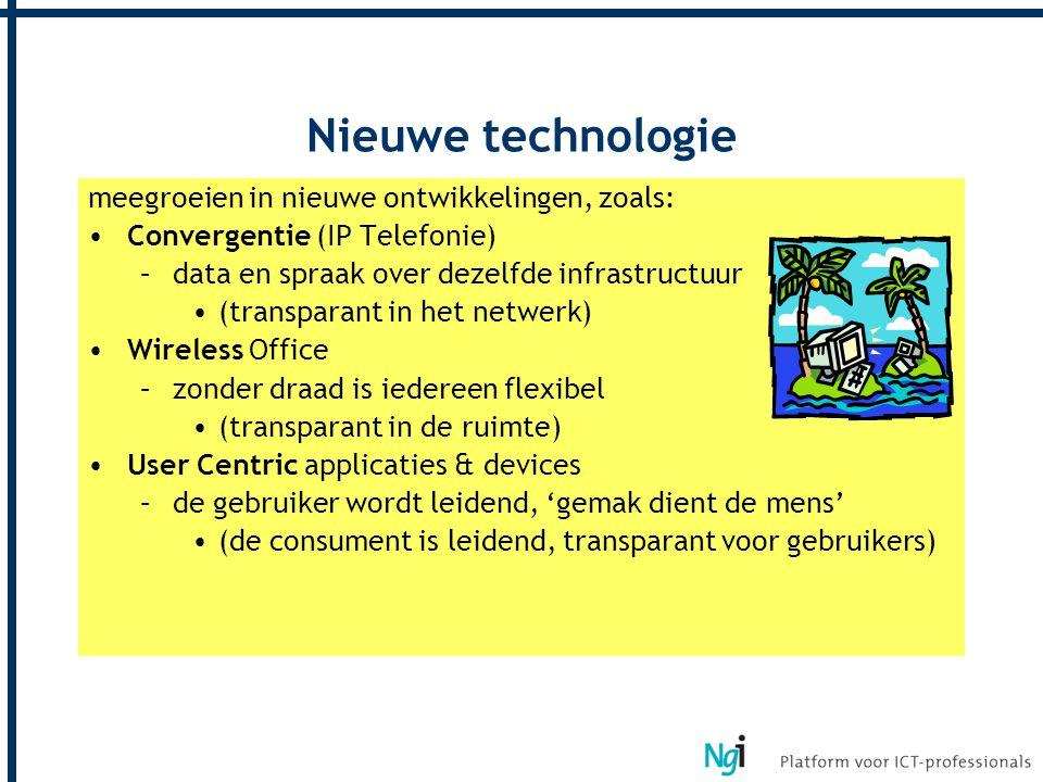 Nieuwe technologie meegroeien in nieuwe ontwikkelingen, zoals: